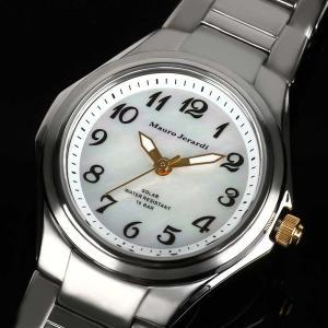 Mauro Jerardi マウロジェラルディ チタンソーラー メンズ腕時計 数字インデックス/ホワイト MJ039-4 (HY)|softya