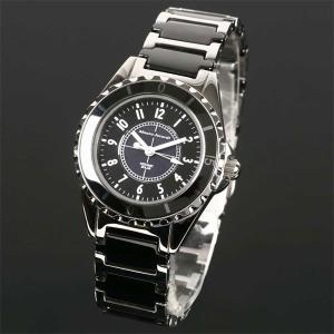 Mauro Jerardi マウロジェラルディ ステンレス&セラミックソーラー レディース腕時計 ブラック MJ042-1 (HY)|softya