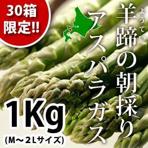 【30箱限定!!】北海道産!! 羊蹄の朝採りアスパラガス(M〜2L)1Kg :くっちゃんマルシェ ゆきだるま
