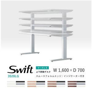オカムラ スイフト スタンディングデスク マークレス仕様 スムースフォルムエッジ インジケーター付 3S20LB 1,600W 700D 650-1,250H soho-honpo
