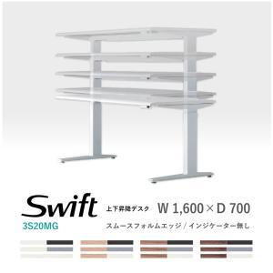 オカムラ スイフト スタンディングデスク スムースフォルムエッジ インジケーター無 3S20MG/3S20MB 1,600W 700D 650-1,250H soho-honpo