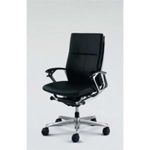 オフィスチェア オカムラ デューク ハイバックシルバーフレームCZ75ZX-P676 革張りタイプ(ブラック) soho-honpo