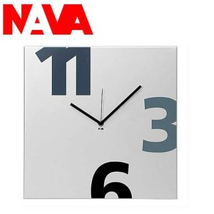NAVA 壁掛け時計 TIME SQUARE NUMERI GRANDI(ヌーメリグランディ) シルバー|soho-st