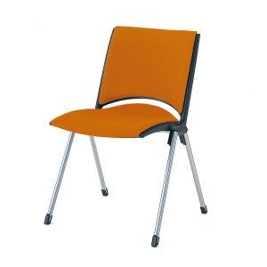 【短納期商品】椅子 イトーキ スタッキングチェアLEKOS(レコス)肘なし・背パッド付 張地D3:アンバーオレンジ【自社便 開梱・設置付】|soho-st