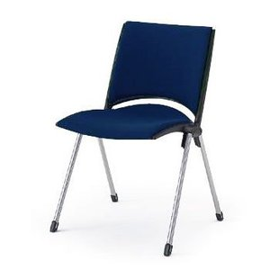 【短納期商品】椅子 イトーキ スタッキングチェアLEKOS(レコス)肘なし・背パッド付 張地B2:ネイビーブルー【自社便 開梱・設置付】|soho-st