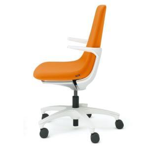 【短納期商品】ワークチェア イトーキ モーブチェア(MOVU) 樹脂脚(キャスター付) GB張地 フレームW9:ホワイトW×張地D3:アンバーオレンジ|soho-st