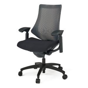 オフィスチェア メッシュ  イトーキ エフチェア ストライプレイヤーファブリック ハイバック 可動肘 樹脂脚|soho-st