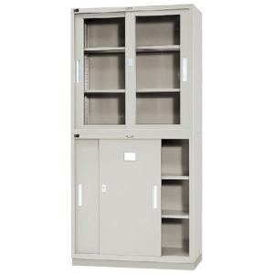 シンプルで使いやすいオフィス収納。上段のガラス引戸、下段の引戸両方に鍵が付いており、大切な資料や書類...