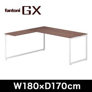 ワークテーブル  Garage fantoni GX L型デスク 濃木目 幅180cm 左凸タイプ GX-188L-L