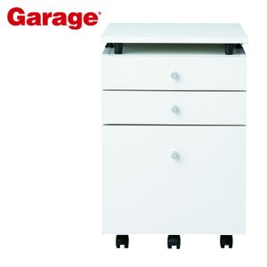 サイドワゴン  Garage 木製 3段 昇降天板ワゴン 白 CC-W047SC3|soho-st
