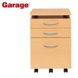 サイドワゴン  Garage 木製 3段 昇降天板ワゴン 木目 YY-047SC3|soho-st