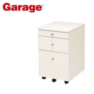 サイドワゴン  Garage 木製 3段 ワゴン 白 CC-W046SC3|soho-st