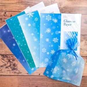 グラシン紙 雪結晶単柄 デザインペーパー クリスマス フィギュアスケート ラッピング コラージュ素材 sokana
