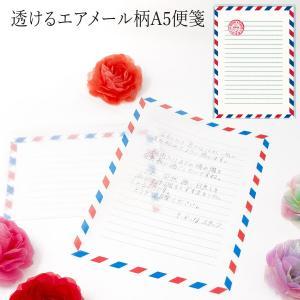 グラシン紙 エアメール柄A5便箋 透ける便箋 トリコロールカラー フレンチカジュアル|sokana