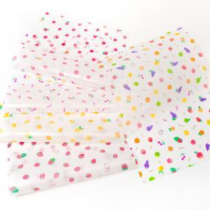 透けるフルーツ柄グラシン紙 A4 かわいい デザインペーパー ラッピング コラージュ デコパージュ ...