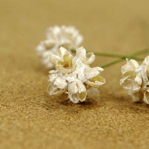 木の実ピック フラワーコーン パールホワイト 3本入 プリザーブドフラワー 花材 そらプリ|solargift