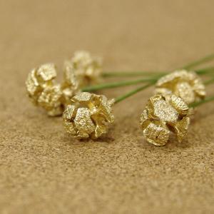 木の実ピック ヒノキの実 ゴールド 5本入 プリザーブドフラワー 花材 そらプリ|solargift