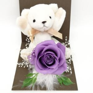 母の日 ギフト プレゼント お花 クリアケース アリスパープル 個別 くま バラ solargift
