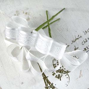 リボンピック ホワイト 小分け 3本入 ワイヤリング済み プリザーブドフラワー 花材|solargift