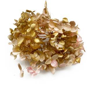 プリザーブドフラワー アジサイ 花材 アナベル ピンクゴールド 小分け 金 紫陽花 花 資材 ハンドメイド 材料の画像