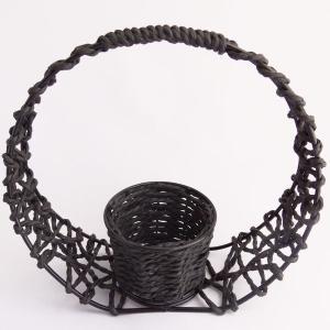 ワイヤー 和 かご 丸 花器 かご te016 てづくり|solargift