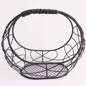 ワイヤー花器 楕円 ブラック 花器 かご te024 てづくり|solargift