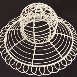 ワイヤー花器 帽子 ホワイト 花器 かご te029 てづくり|solargift