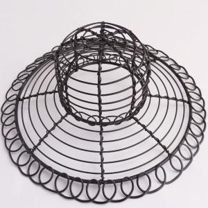 ワイヤー花器 帽子 ブラック 花器 かご te030 てづくり|solargift
