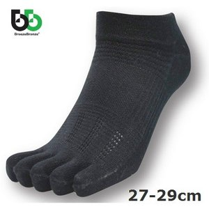 ブリーズブロンズ スポーツ5本指ソックスショート丈27-29cm 防臭消臭 靴下 ブラック BreezeBronze|solemo