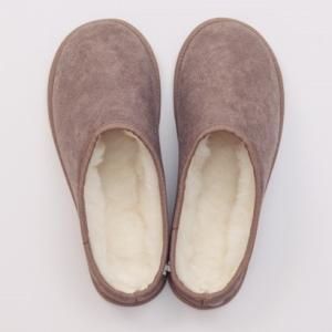 メリノン 羊毛スリッパXL ブラウン 防寒 室内履き ウール 丸洗い可能 Merinon|solemo