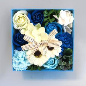 Q-FLA フラワーフレグランスボックスアレンジ ブルー キューフラ 入浴剤 お花ギフトボックス 母の日 ラッピング対応|solemo