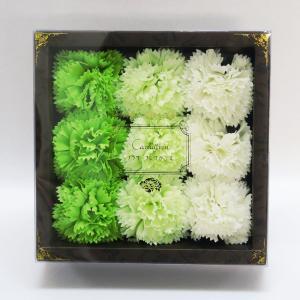 Q-FLA カーネーションフレグランス9輪入り グリーン キューフラ 入浴剤 お花ギフトボックス 母の日 ラッピング対応|solemo