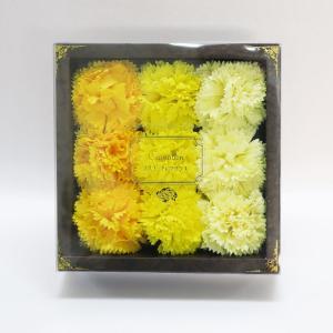 Q-FLA カーネーションフレグランス9輪入り イエロー キューフラ 入浴剤 お花ギフトボックス 母の日 ラッピング対応|solemo