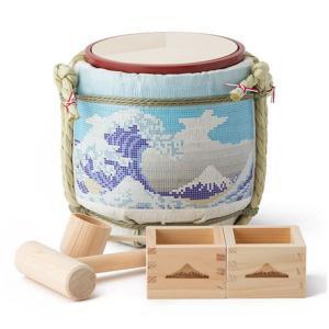 コモダル ミニ鏡開きセット ミニ酒樽 土産樽シリーズ タイル富士 KOMODARU|solemo