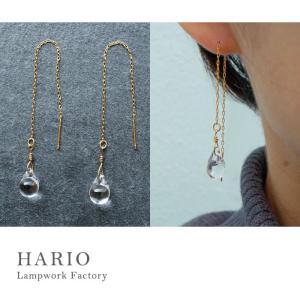 ハリオランプワークファクトリー LWF ピアス ティアーズ HARIO Lampwork Factory ガラス アクセサリー 透明感|solemo
