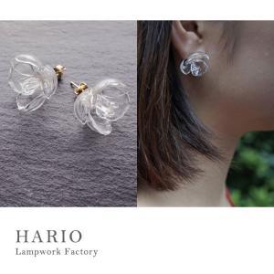 ハリオランプワークファクトリー LWF ピアス ツバキ クリア HARIO Lampwork Factory ガラス アクセサリー 透明感 solemo