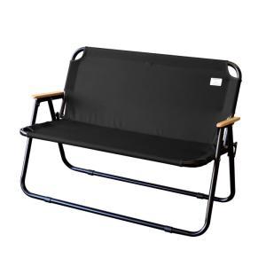 アントレックス antrex フォールディングチェア 2-seater ブラック×ブラック 折りたたみ ベンチ 椅子 持ち運び アウトドア|solemo