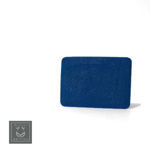 カードケース エイ革 スティングレイ ガルーシャ ブランド Atelie AKNAS アトリエアクナス タイ製 高級 本革 フランス ブルー|solfiglio