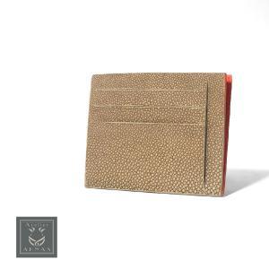 カードケース 札ばさみ エイ革 スティングレイ ガルーシャ ブランド Atelie AKNAS アトリエアクナス タイ製 高級 本革 フランス ベージュ オレンジ|solfiglio