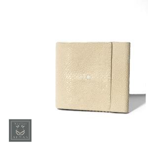 財布 お札入れ スターマーク エイ革 スティングレイ ガルーシャ ブランド Atelie AKNAS アトリエアクナス タイ製 高級 本革 フランス オフホワイト|solfiglio