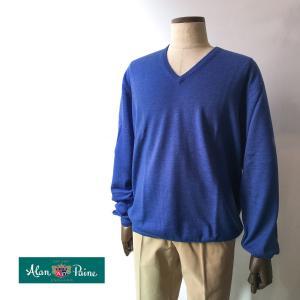 ニット セーター メンズ カジュアル ブランド Vネック アランペイン ALAN PAINE ウール ブルー 大きいサイズ|solfiglio