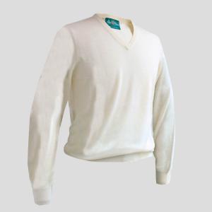 ニット セーター メンズ カジュアル ブランド アランペイン ALAN PAINE Vネック カシミヤ アイボリー イギリス|solfiglio