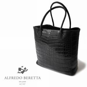トートバッグ メンズ レディース バッグ ブランド Alfredo Beretta アルフレッドベレッタ クロコダイル 本革 ブラック|solfiglio
