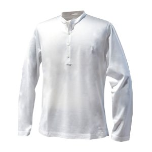 カットソー メンズ ブランド スタンドカラー 長袖シャツ BILANCIONI  ホワイト コットン 大きいサイズ|solfiglio