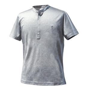 Tシャツ メンズ ブランド BILANCIONI ビランチオーニ スタンドカラー コットン グレー 大きいサイズ|solfiglio