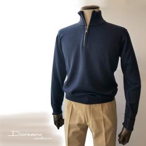 ニット セーター メンズ カジュアル ブランド ドリアーニ Driani ハイネック ジップ カシミヤ ネイビー solfiglio