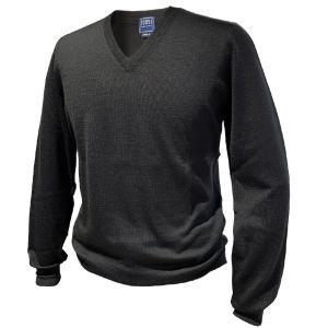ニット セーター メンズ カジュアル ブランド フェデーリ FEDELI Vネック ウール ブラック 高級 大きいサイズ|solfiglio