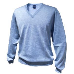 ニット セーター メンズ カジュアル ブランド フェデーリ FEDELI Vネック ウール ライトブルー 高級 大きいサイズ|solfiglio