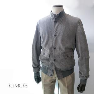 ブルゾン メンズ カジュアル ブランド ジモス GIMO'S レザー 本革 パンチング グレー バルスター型|solfiglio