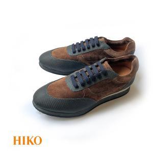 スニーカー メンズ カジュアル ブランド HIKO powered by TecknoMonster ブラウン カーボンファイバー スウェード ハイテクスニーカー|solfiglio